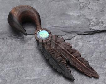 A Pair of Spirit Native Feathers Organic Arang Wood Ear Gauge Taper Hanger
