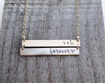 Personalized DOUBLE Bar Necklace. Real 14k Gold Filled, Rose Gold, Sterling Silver. Personalize with Your Custom Names, Dates, Quotes.