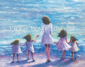 Mother Four Daughters Beach Art Print, four sisters, four girls, beach sisters, beach wall art, mother's day gift, Vickie Wade Art