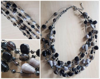 Multi strand Black and Grey Glass Necklace - glass beaded necklace - 5 strand necklace - glass bead necklace - black beaded necklace