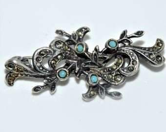 Antique Art Deco PIN BROOCH  Trombone Clasp Silver Turquoise Glass and Marcasite Stone Brooch