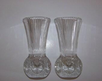 Vintage Fostoria Lead Crystal Bud Vases (Pair of 2) Melissa Pattern