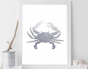 Grey Crab, Crab Print, Crab Wall Art, Beach Crab, Beach House Print, Cottage Chic, Beach Art, Ocean Art, Coastal Print Digital Download