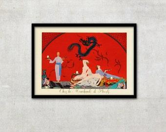 At The Merchant of Poppies, Art Deco, aesthetic illustration,art deco art, vintage print, vintage print, Georges Barbier IL010