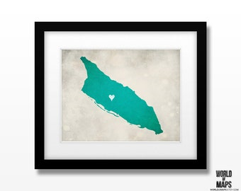 Aruba Map Print - Home Town Love - Personalized Art Print Available in Different Sizes & Colors