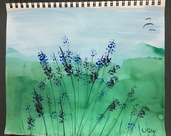 """Lupines and Mountains 11 x 14"""""""