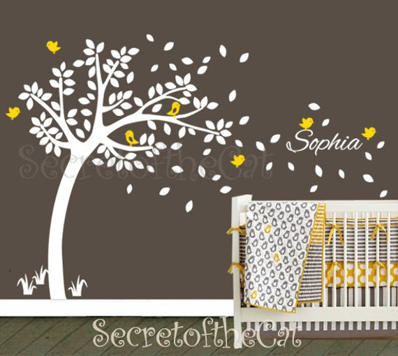 Charming Nursery Wall Decal. Cute Garden Tree Wall Decal With Custom