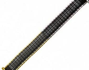 16-19mm EXTRA LONG Black Gold Silver Romunda Metal Stainless Steel Expansion Watch Band Strap