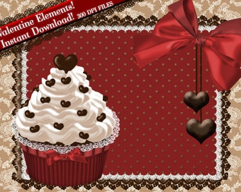 Cupcake Clipart, Valentine Clipart, Clip Art Chocolate Heart Candy