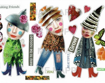 Collage sheet, journal sheet, quirky characters, mixed media dolls nr D45