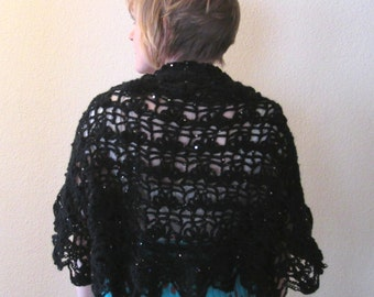 Shrug Black Sequined Bridal Evening Wear Crocheted Lacy Wool Blend