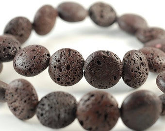 16mm Brown Volcanic Lava Gemstone Grade AA Flat Round Button Loose Beads 16 inch Full Strand (90186616-766)