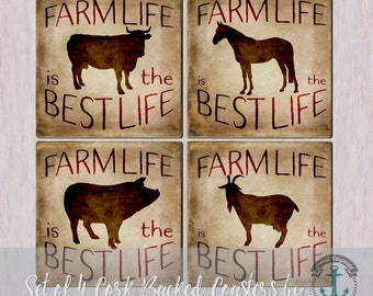 Coaster Set | Farm Life is the Best Life | Country Chic Farmhouse Americana Decor | Cork Back Non Slip | Options at Checkout