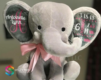 Personalized baby birth stats elephant