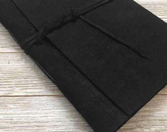 Nubuck leather journal or photo album, BLACK, FREE personalization