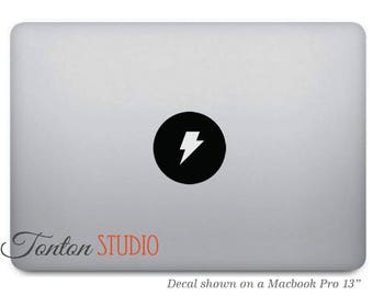 Lightning Bolt Macbook Sticker / Thunder Bolt Macbook Decal / Laptop Notebook Decal - Removable - T010