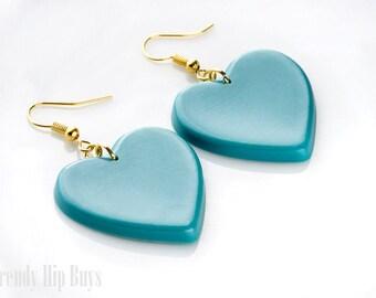 Heart Earrings, Teal Earrings, Teal dangle Earrings, Teal heart earrings,Heart Dangle Earrings,Heartshaped earrings,Kawaii earrings,Handmade