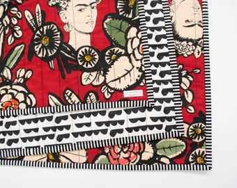 Red Frida Kahlo Whole Cloth Blanket - Lap Blanket - Baby Blanket - Throw Blanket - Coverlet