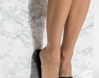 Black Leather Slides, Slip On Sandals, Ekavi design NEW