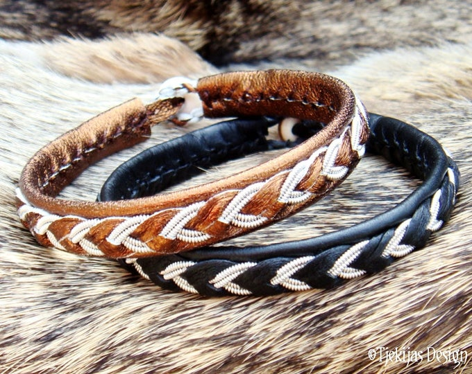 Sami Lapland Bracelet ODIN Swedish Armband in Bronze Leather decorated with Pewter Braid - Handcrafted Unisex Norse Jewelry