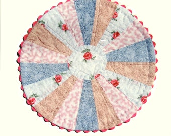 Quilted Doily, Vintage Style Round Doily for Country Chic, Cottage, Granny Chic Decor