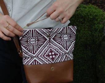 Tulum Cross Body Bag. Vegan leather purse.  Waxed canvas bag. Geometric cross body. Earth conscious accessory.Lightweight faux leather purse
