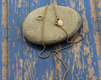 14K Gold Filled Bead Chain, Everyday, Casual, Layering Chain;  16, 18 or 20-Inch Lengths