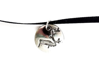 Sterling caribou petroglyph charm, reindeer jewelry, rock art necklace