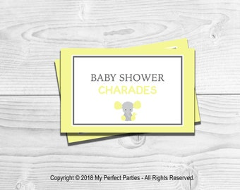 Yellow Elephant, Neutral Baby Shower, Charades, Baby Shower Game,  INSTANT DOWNLOAD
