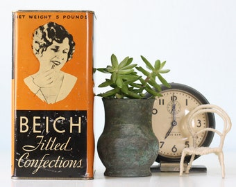 Vintage Beich Candy Tin, Chocolate Tin, Beich Filled Confections, 5lb
