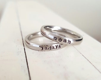 Stacking Ring Name Ring 3 mm Hand Stamped ring stackable stamped jelwery name ring Mothers ring hypoallergenic comfort fit stainless steel