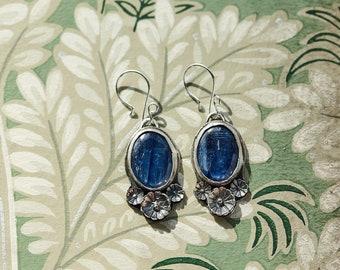 Kyanite earrings with silver flower castings