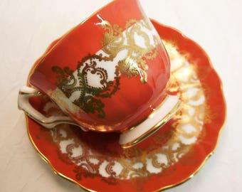 Vintage, Aynsley Tea Cup & Saucer, Copper Rust Burnt Orange, Gold 1215