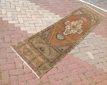 """Vintage Oushak Runner, 111"""" x 29.5"""", Runner rug, Muted color runner, runner, Faded pale color rug, neutral runner rug, rug, 181"""