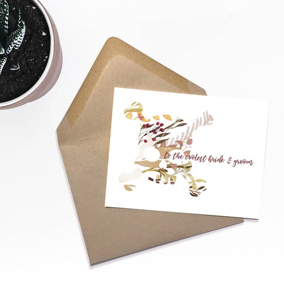Floral Skull and Crossbones - To the Bride and Groom Card