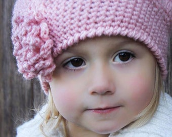 Beret Crochet Hat Pattern: 'Sofia Belle Beret' with Loopy Flower, Toddler, Child/Tween & Women