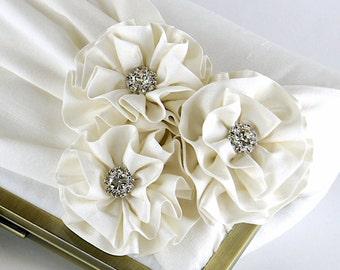 Roses with Rhinestone Silk Clutch, wedding clutch, wedding bag, bridesmaid clutch, Bridal clutch, Purse for wedding