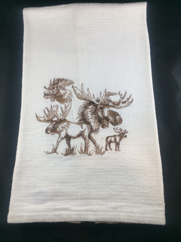 Moose kitchen towel Moose huck towel White huck Towel Towel