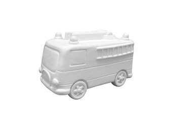 Fire Truck Piggy Bank, Ceramic Bisque, Paintable Pottery, Craft Supplies