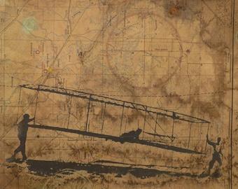 Kitty Hawk Print Etsy - Vintage aviation maps