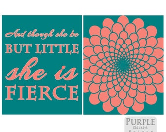 Coral Teal Wall Art And Though She Be But Little She is Fierce Flower Burst Coral Bedroom Decor Teal Nursery Art Prints  221a