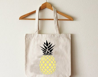 Tote bag pineapple gold organic cotton