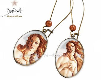The birth of Venus Sandro Botticelli bronze-n-roses retro Brown bronze cabochon earrings