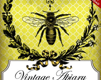 Custom Etsy Banner and Avatar Design Set - 10 Piece Vintage Honey Bee Apiary Premade Etsy Shop Set - DIY Online Editor