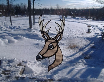 buck head stained glass suncatcher