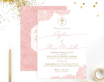 Girls Baptism Invitation DOUBLE SIDED Christening
