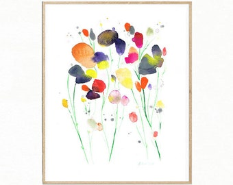 11 x 14 Original Aquarell-Malerei. Handbemalter Aquarell Blumenkunst. Blumenkunst. Wiese Blume Art. Original Gemälde Blumen. Blumenkunst