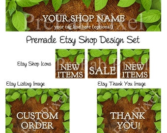 Etsy Shop Banner, Etsy Cover Photo, Etsy Banner, Etsy Banner Set, Etsy Cover Banner, Wood, Woodland, Leaf, Tree, Forest, Green, Nature