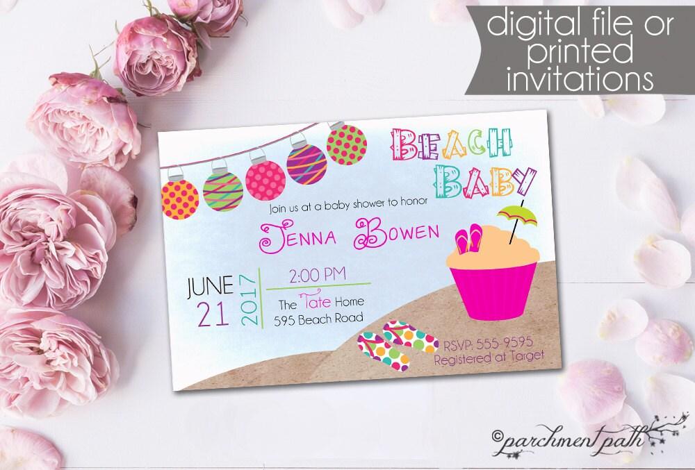 Beach Baby Shower Invitation Summer Baby Shower Girl Luau