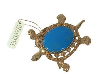 vintage ST. JOHN sea turtle brooch / st. john accessories / turquoise gold / turtle aquatic oceanic / vintage pin / vintage jewelry